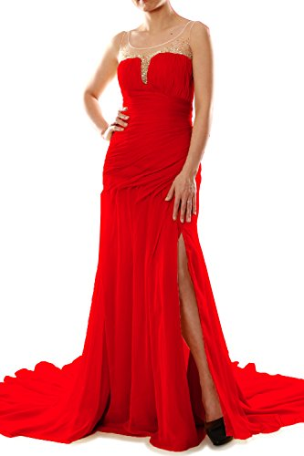 MACloth Women Mermaid Chiffon Long Prom Dress Formal Evening Party Ball Gown Rot