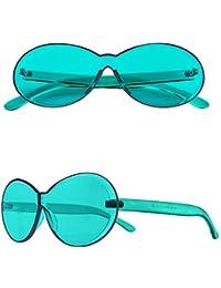 761503d7a5 W&TT Gafas de Sol sin Marco único Integrado UV Candy Color Gafas PC Moda  Siameses Gafas