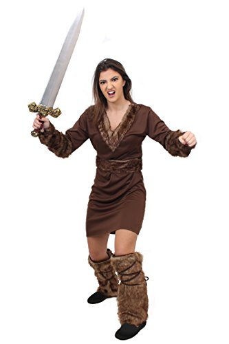 ILOVEFANCYDRESS Wikinger Krieger Prinzessin KOSTÜM VERKLEIDUNG Ragnar =MIT+OHNE ZUBEHÖR=Tunika+GÜRTEL+ARM Fellimitat BINDEN+Fell IMITAT Stulpen=Game Off Thrones Fasching Karneval=Schwert-SMALL