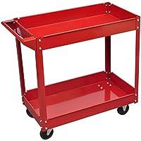 Carrito para Trabajo de Taller 100 Kg Rojo,para Almacenar y Organizar Herramientas