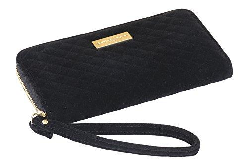 Adrienne Vittadini Geldbörse Ladegerät mit Zugband Armbanduhr: Smartphone Geldbörse Reißverschluss mit Tasche für Handy Ladegerät Power Bank für Damen–Schwarz Samt (Vittadini Tasche Adrienne)