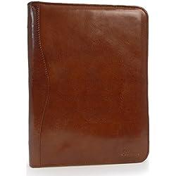 ASHWOOD - Cuir Véritable - A4 Porte Document/Zippé Conférencier Organiseur/Portfolio - A4 Folder - Châtaigne Marron