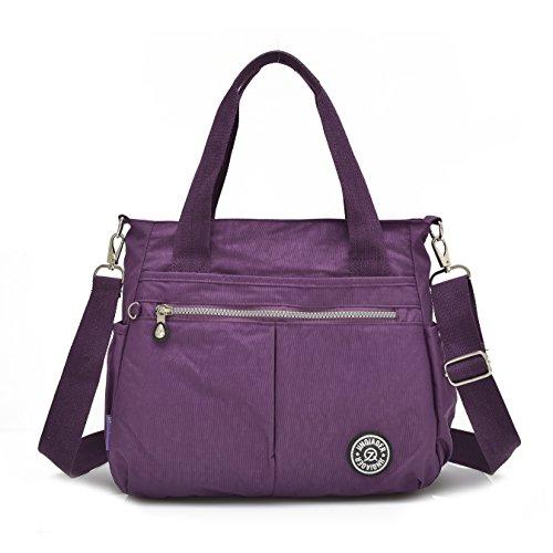Grande borsa da donna con portachiavi a forma di scimmia, multitasche, borsa a tracolla impermeabile Plum purple