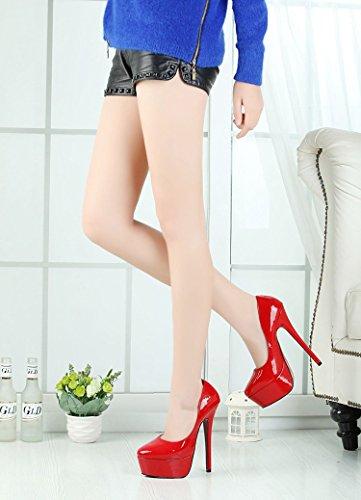 HeiSiMei Frauen high-heeled Schuhe / PU / stiletto Fersen / dicke untere wasserdichte Plattform / Office & Karriere / Partei u. Abend / Hochzeit / Kleid / super hoher Absatz / Männer / Unisex RED-42