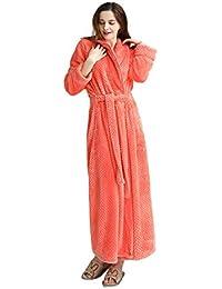 e4d7c2829a MiaoFan Unisex Couple Flannel Dressing Gown Fluffy Long Sleeve Wrap Bathrobe  Thermal Plus Size Housecoat