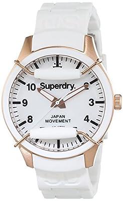 Superdry SYL128W - Reloj analógico de cuarzo para mujer, correa de silicona color blanco de Superdry