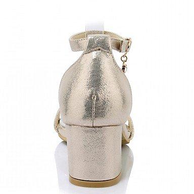 LvYuan Femme Sandales Similicuir Polyuréthane Eté Automne Marche Boucle Gros Talon Or Argent 5 à 7 cm Silver