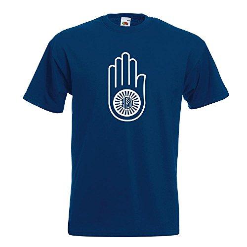 KIWISTAR - Jain Hand Ahimsa T-Shirt in 15 verschiedenen Farben - Herren Funshirt bedruckt Design Sprüche Spruch Motive Oberteil Baumwolle Print Größe S M L XL XXL Navy