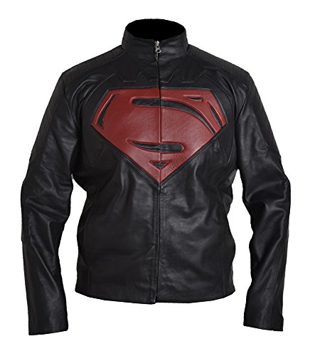 Classyak Hombres de Moda Super VS Batman Real con una Chaqueta de Cuero Negro Faux Black Medium