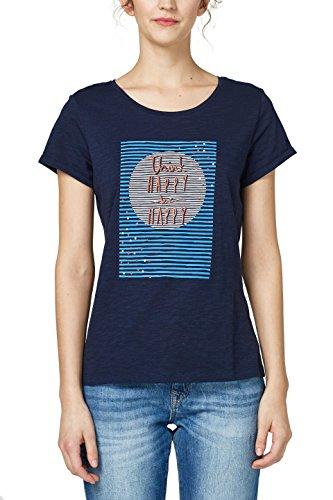 edc by ESPRIT Damen T-Shirt 048CC1K021, Blau (Navy 400), Small