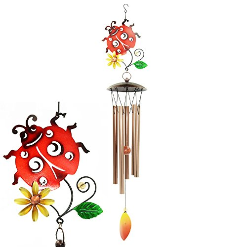 Galleria fotografica Bardland sonaglio a vento all' aperto, 86,4 cm Ladybird Wind chimes per outdoor indoor patio giardino balcone, bella Outdoor Decor