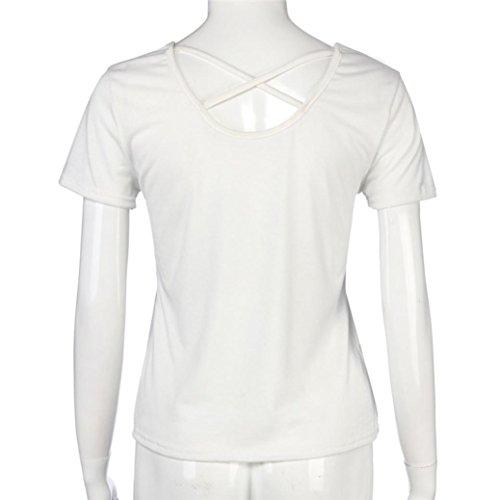 OverDose Frauen Mode Beiläufige Rose gestickte T-Shirt Blusen Kurzschluss Hülsen Oberseiten Tank Cami Tops B-Weiß