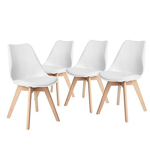 fanilife diseño de tulipanes de juego de 4sillas de comedor patas de madera maciza natural con acolchado para sillas de salón cocina sin reposabrazos blanco