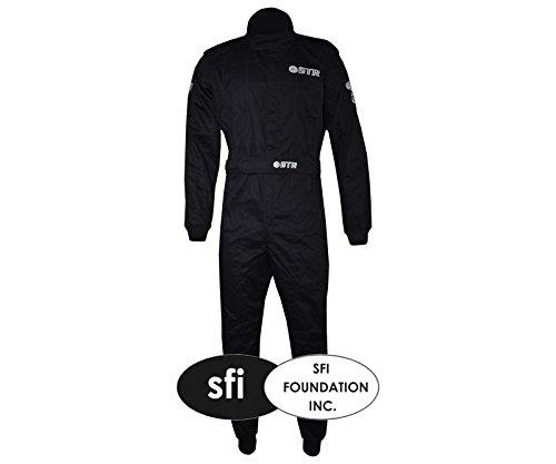 Unbekannt STR Graphite Pro Race Anzug Double Layer - SFI 3-2A/5 zugelassen - ideal für Oval Racing, schwarz/dunkelgrau, EU58