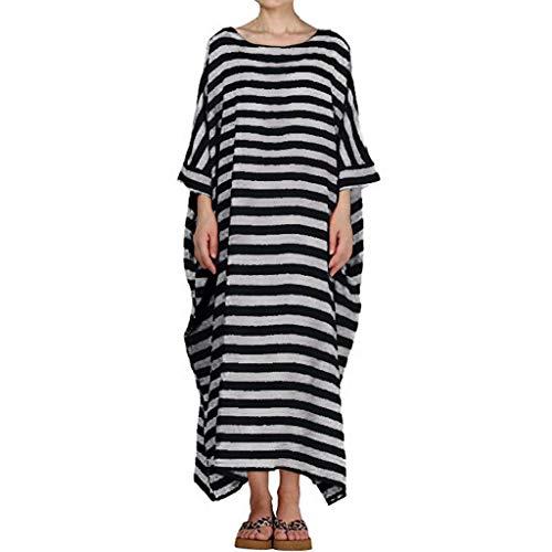 QIMANZI Damen Boho Gestreift Kleider 3/4 Ärmel O-Neck Beiläufig Lose Kaftan Lange Maxi Kleid(Schwarz,S) - Womens Designer-bettwäsche