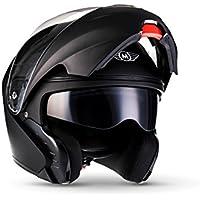 MOTO F19 Matt Black · Klapp-Helm Sturz-Helm Scooter-Helm Integral-Helm Motorrad-Helm Modular-Helm Cruiser Roller-Helm Flip-Up-Helm Helmet · ECE zertifiziert · zwei Visiere · inkl. Stofftragetasche · Schwarz · L (59-60cm)