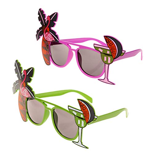 Amosfun 2 stücke Hawaii Tropical Sonnenbrillen Neuheit Flamingo Brillen Cocktail Palm Tree Eyewear Phantasie Kleid Requisiten für Hawaii Luau Party Beach Pool Party Dekorationen