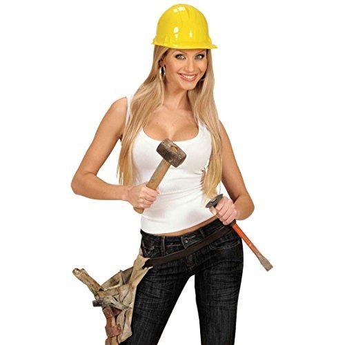 Gelber Bauhelm Bauarbeiter Helm Handwerker Schutzhelm Bauarbeiterhelm Fasching Bau Kopfbedeckung Partyhelm Verkleidung Uniform Mottoparty Accessoire Karneval Kostüm Zubehör