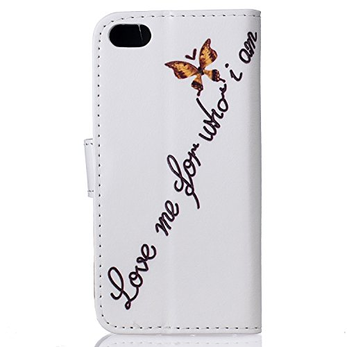 Qiaogle Telefon Case - PU Leder Wallet Schutzhülle Case für Apple iPhone 7 Plus (5.5 Zoll) - XIS14 / Plum Blume XIS22 / Love me for who i am