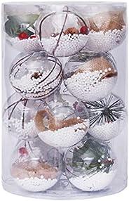 16 Pcs Christmas Balls Ornaments,Shatterproof Plastic Christmas Tree Decorations Set,80mm DIY Clear Shatterpr