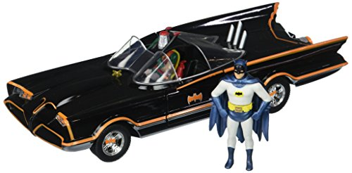 Jada Toys–98259bk–Batmobile–1966Version–con Figuras (Escala 1/24–Negro/Rojo