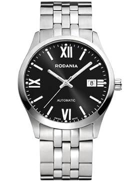 RODANIA Swiss Xelos Herren Automatik Uhr mit schwarzem Zifferblatt Analog-Anzeige und Silber Edelstahl Armband...