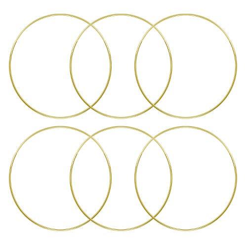 6pcs anillos de metal aros suministros de artesanía de bricolaje para Dream Catcher atrapasueños coronas Macrame Projects 6 pulgadas