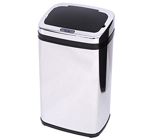 Cubo de Basura con Sensor de Movimiento Automático - Color Plateado - Acero Inoxidable - 33x25x58cm