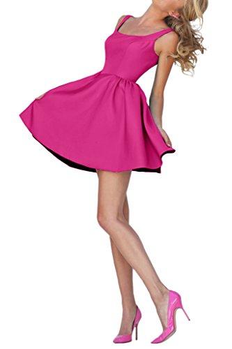 Victory Bridal Einfach Mehr Farbig Satin Cocktailkleider Promkleider Tanzenkleider Festlich Brautjungfernkleider Pink