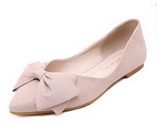 AalarDom Damen Spitz Zehe Ziehen Auf Blend-Materialien Pumps Schuhe Nackte Farbe-Schleife