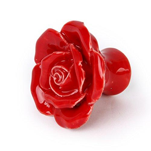 1x Pomelli Ceramica Forma Fiore Rosa Maniglie Per Mobili Armadio Cassetti  Cucina