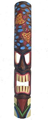 Mscara-de-madera-Tiki-scildkrten-en-el-HAWI-Look-in-100cm-Largo-Tiki-Mscara-Mscara-de-pared