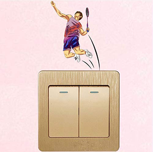 Badminton Fitness Junge Pvc Dekorative Schalter Wandaufkleber Wohnzimmer Schlafzimmer Kühle Farbe Aufkleber 3 Stücke