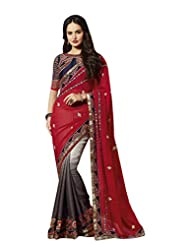Aarti Latest Fashionable Party Wear Fancy Saree Bridal Embroidery Saree Wedding Wear Free Size - B00VRM6ZTA