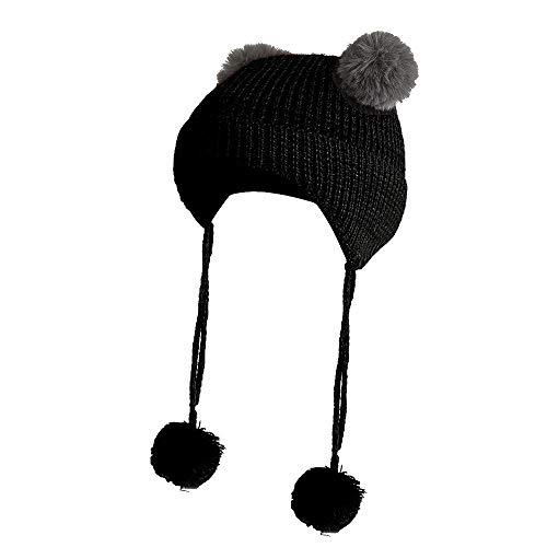25607c193cea Chapeau enfant ADESHOP Mode Enfants Hiver Chaud Chapeau De Chapeau De Ski  En Tricot De Laine Tricoté BéBé Couleur Unie Mignon Boule De Cheveux Bonnet  Beanie ...