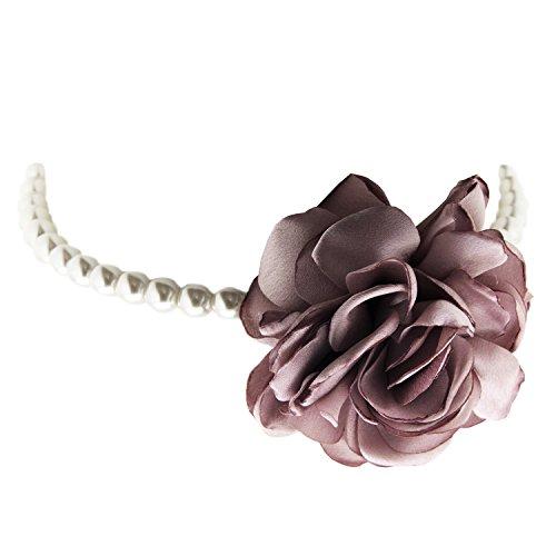 (Sweet Deluxe Choker Rose, Silber/Pearl/Rose I auffälliges Halsband für Damen & Mädchen I Frauen Halskette Gothik Kropfband I Collar Necklace)