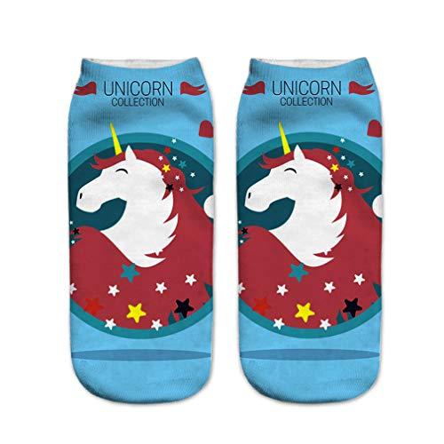 Patrón de las mujeres Pantalones Medias unicornio Animales calcetines deportivos Stocking escotados en barco tobillo calcetines cortos