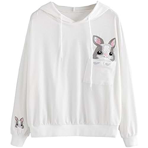 ropa primavera kawaii Lenfesh Sudaderas con capucha Mujer Invierno Primavera,Lindo Conejo Estampado Suéter Casual Mujer Rabbit Kawaii Sweatshirts Camiseta Mujer Ropa Deportiva 2018