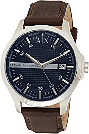 Armani Exchange Mens Quartz Analogue Classic Watch with Leather strap AX2133