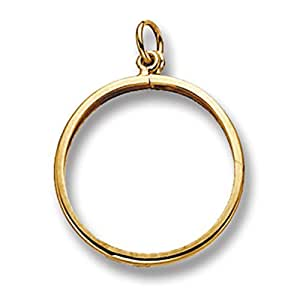 9ct Gold Half Sovereign Mount Pendant On A 16 Inch Belcher Necklace
