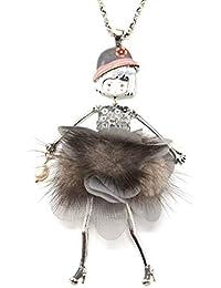 d863b7e5e01b Oh My Shop SP799E - Sautoir Collier Pendentif Poupée Articulée Robe  Sequins