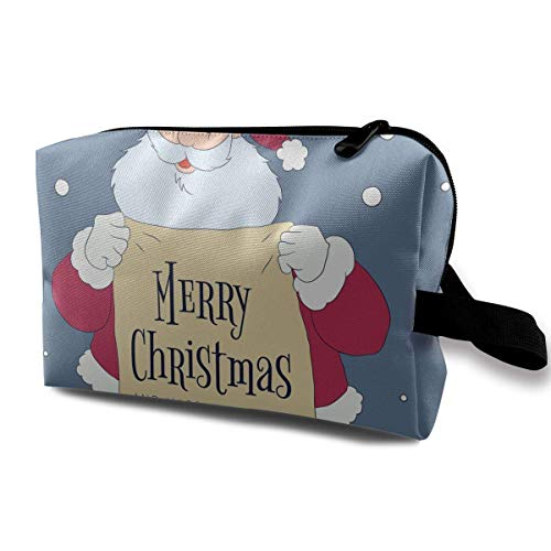 Cartoon Cute Santa Character Holding Sign with Christmas Message Small Travel Toiletry Bag Super Light Toiletry Organizer for Overnight Trip Bag -