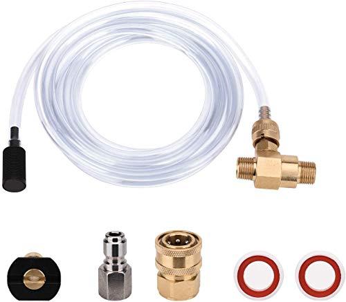 Opaltool Chemische Einspritzdüse Kit für Hochdruckreiniger, 4000 PSI Verstellbarer Seifenspender mit 3/8 Zoll Quick Connect und 3 ft Siphonschlauch