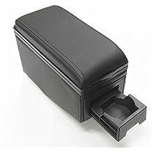 Boloromo 42007 Apoyabrazos Consola Central Reposabrazos Tuning Acolchado Soporte Caja de Consola Posavasos Negro