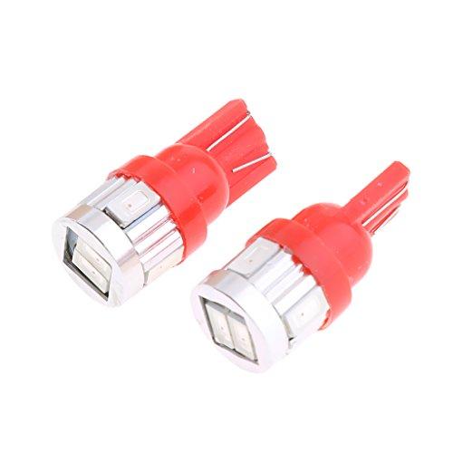 MagiDeal Paire Ampoule LED de T10 6 SMD 5630 5W 194 W5W Intérieur Accessoire Auto - Rouge