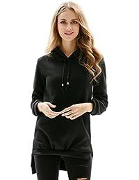 YuanDian Femme Printemps Et Automne Casual Couleur Unie Sweat Shirt a  Capuche Divisé Irrégulier Doux Hoodies fcf4f2b588a