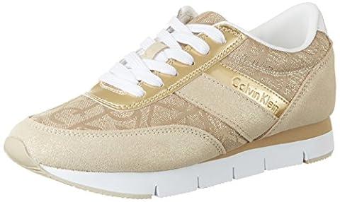 Calvin Klein Jeans Tea Metallic Jacquard/Suede, Sneakers Basses Femme, Or (Gold), 38 EU