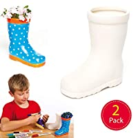 Baker Ross Wellington Boot Ceramic Flowerpots (Pack of 2) for Kids To Decorate