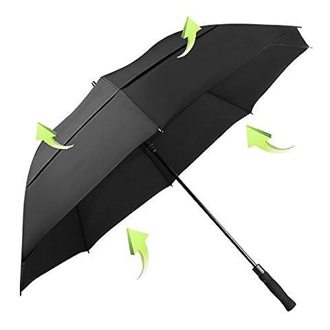Koler Golf Umbrella Windproof 62 Inch Oversized Double Vented Canopy Auto Open Waterproof & Sunproof Extra large Stick Umbrellas - Black / Vented