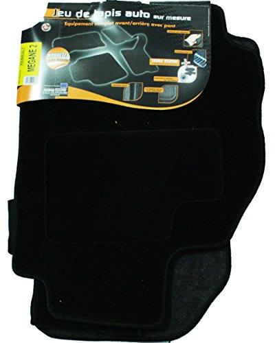 Arcoll 3 Tapis de Sol Semi-Mesure pour Renault Mégane 2, Noirs pour Fixations d'origine (Attaches Non fournies) 019506